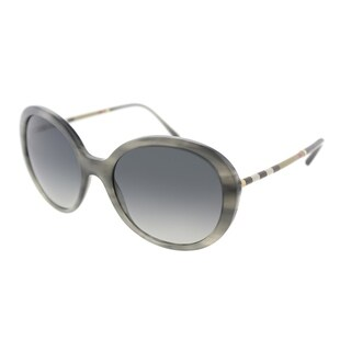 Burberry Round BE 4239Q 3658T3 Women's Striped Grey Frame Grey Gradient Polarized Lens Sunglasses