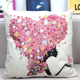Vintage Cotton Linen Pillows Case Heart Shape Flower Girl 18x18