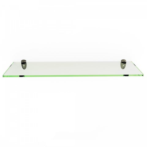 """Clear Rectangle Floating Glass Shelf 3/8"""" Thick Tempered with Chrome Brackets"""