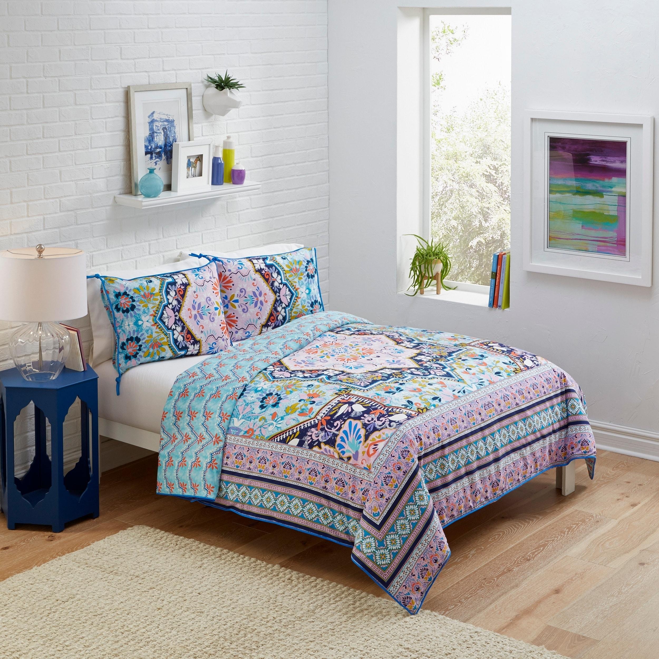 Boho Boutique Kasbah 3 Piece Reversible Comforter Set (Ki...