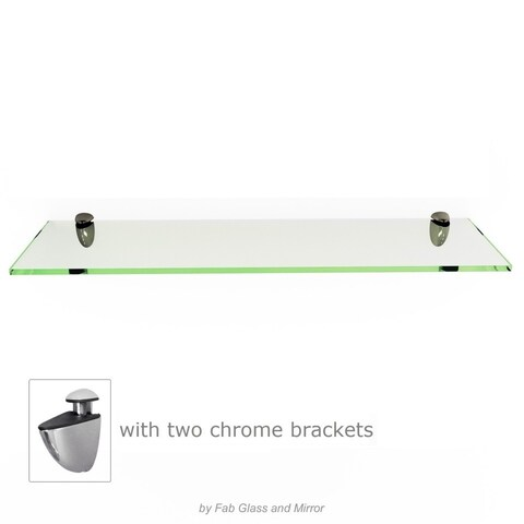 Rectangle Floating Glass Shelf Kit 3/8 Inch Thick Tempered with Many Sizes and Colors