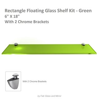 Rectangle Floating Glass Shelf Kit 3/8 Inch Thick Tempered with Many Sizes and Colors (More options available)