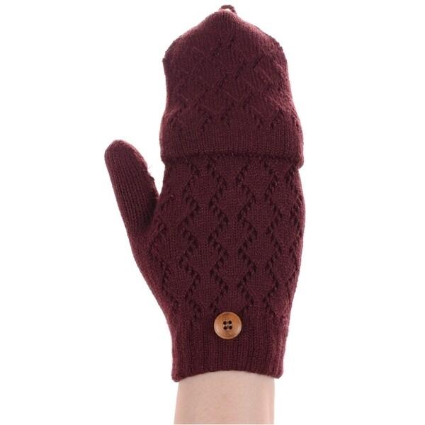 Womens Ladies Knit Mittens Glove Fingerless Cream White Lined Winter Gloves