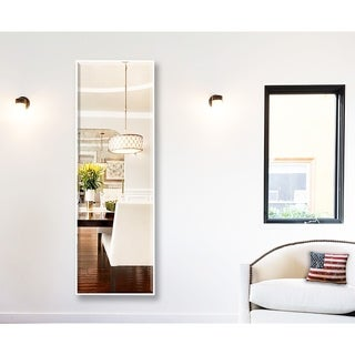 Rayne Mirrors U.S Bright Satin-white-finished Metal and Beveled Glass Rectangular Framed Tall Full-length Wall Mirror