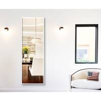 U.S Bright White Metal Framed Beveled Tall Mirror