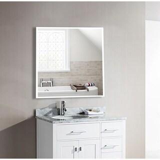 U.S. Bright White Metal Square Mirror