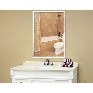 Rayne Mirrors U.S. Bright White Metal Framed Beveled Vanity/Wall Mirror
