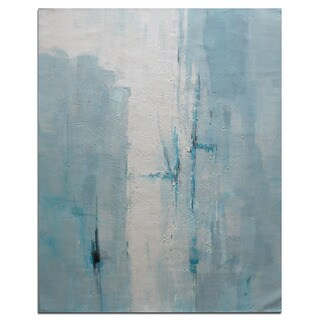 Modern Contemporary Blue and White 36 x 48-inch Abstract Oil Painting on Canvas