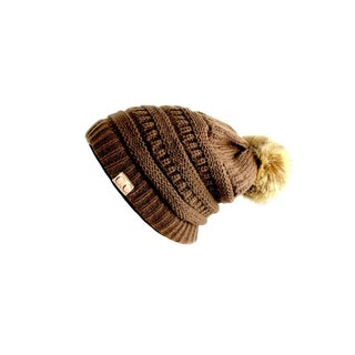 CC Slouchy Beanie Faux Fur Pom Pom (Option: Brown)