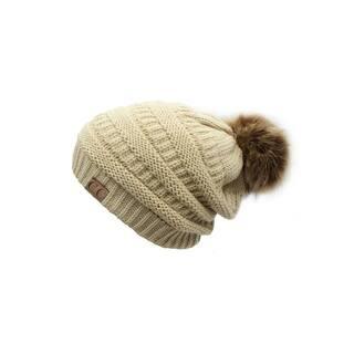 CC Slouchy Beanie Faux Fur Pom Pom|https://ak1.ostkcdn.com/images/products/18182804/P24329030.jpg?impolicy=medium