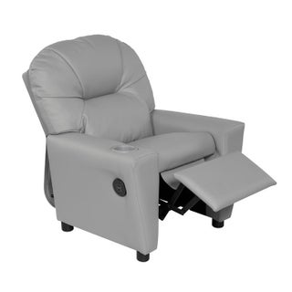Relaxzen 60-7100KU Youth Recliner with Cupholder and Dual USB (Option: Grey)