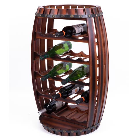 Large Wooden Barrel Shaped 23 Bottle Wine Rack
