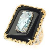 Michael Valitutti Palladium Silver Swiss Blue Topaz & Black Onyx Frame Rectangular Ring