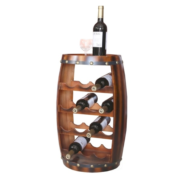 Shop Wooden Barrel Shaped 14 Bottle Wine Rack Free
