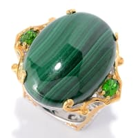 Michael Valitutti Palladium Silver Malachite & Chrome Diopside Euro Shank Ring