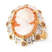 Michael Valitutti Palladium Silver Carved Shell Cameo & Mocha Zircon Ring