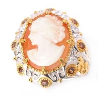 Michael Valitutti Palladium Silver Carved Shell Cameo & Mocha Zircon Ring