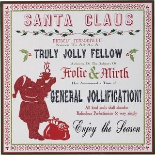 Transpac 15-Inch MDF Truly Jolly Santa Wall Art