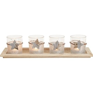 Transpac Glass Glittered Candleholder with Tray Set of 5