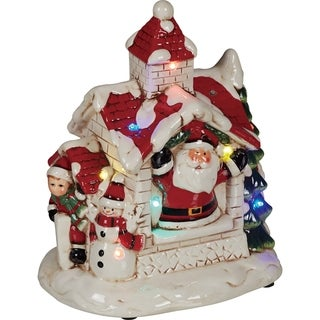 Transpac 7-Inch Dolomite Light Up and Music Snow House
