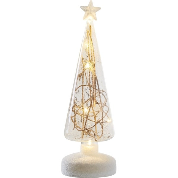 transpac small 11 inch glass light up twig tree - Small Light Up Christmas Decorations