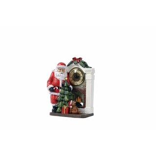Transpac 11-Inch Resin Santa and Gift Box Clock