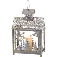 Transpac 12-Inch Metal and Glass Silver Reindeer Lantern