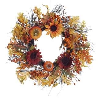 Transpac 22-Inch Twig Sunflower Wreath