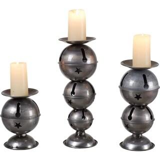 Transpac Metal Bells Multi-size Candleholder Set of 3