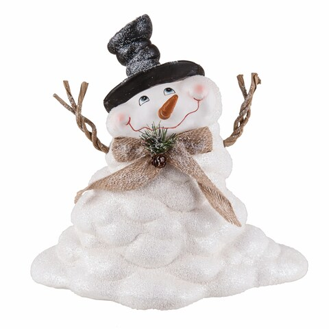 Transpac 10-Inch Large Terracotta Melting Snowman Figurine