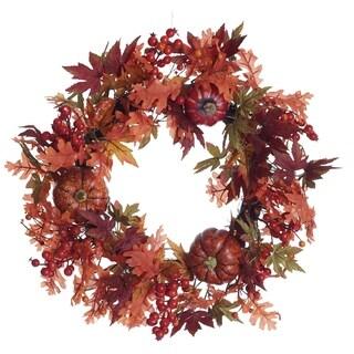 Transpac 22-Inch Faux Harvest Pumpkin Wreath