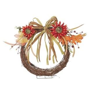 Transpac 13-Inch Faux Sunflower Wall Basket