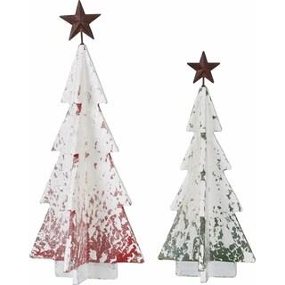 Transpac 10-Inch MDF and Metal Snow Tree Decor Set of 2