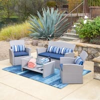 Corvus Niort Outdoor 4-piece Grey Wicker Chat Set with Glass Top