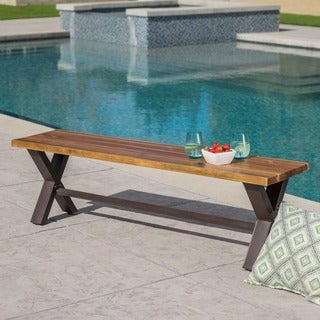 Sanibel Outdoor Acacia Wood Rustic Bench by Christopher Knight Home