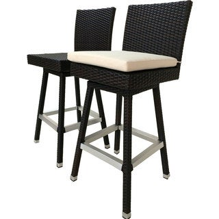 Laura Benasse Hilton Swivel Wicker Patio 30 inc Bar Stool with Cushion (Set of 2)(Espresso)