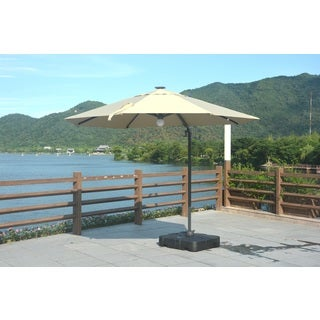 Direct Wicker 9.8-Feet Hanging Solar LED Umbrella Patio Sun Shade Offset Parasol with Base and Crank (Option: Red)