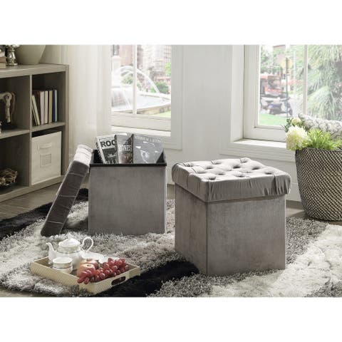 Foldable Storage Cube Ottoman Stool, 2-Piece Set