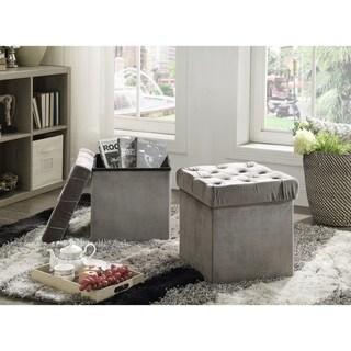 Foldable Storage Cube Ottoman Stool, 2-Piece Set