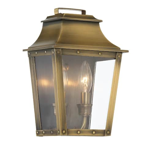 Coventry 2-light Aged Brass Outdoor Wall Mount