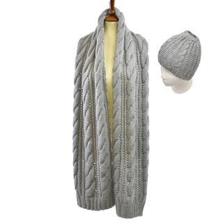 Le Nom Cableknit Scarf & Messy Bun Hat Set (Option: Grey)|https://ak1.ostkcdn.com/images/products/18183212/P24329360.jpg?impolicy=medium
