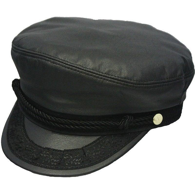 Henschel Greek Fisherman Leather Cap (Black - Large), Men...