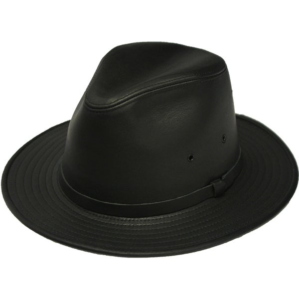 Shop Henschel Safari Leather Fedora Hat - Free Shipping Today ... 6941f317eb5a