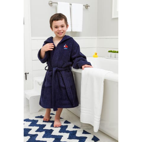 Sweet Kids Navy Blue Turkish Cotton Hooded Terry Bathrobe with Embroidered Boat Design