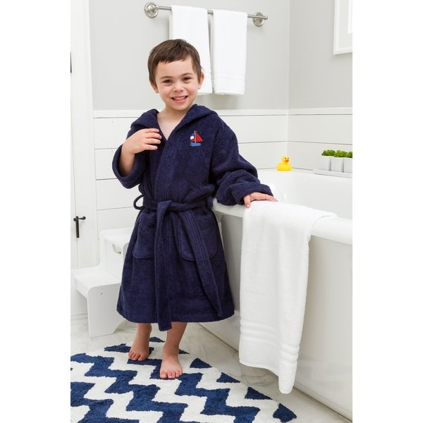 cd15504895 Sweet Kids Navy Blue Turkish Cotton Hooded Terry Bathrobe with Embroidered  Boat Design