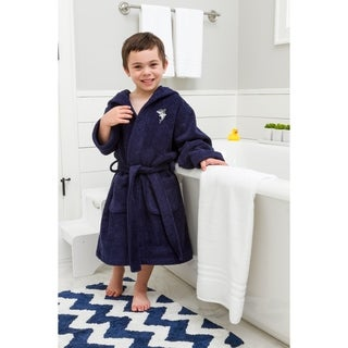 Sweet Kids Midnight Blue Turkish Cotton Hooded Terry Bathrobe with Embroidered Shark Design