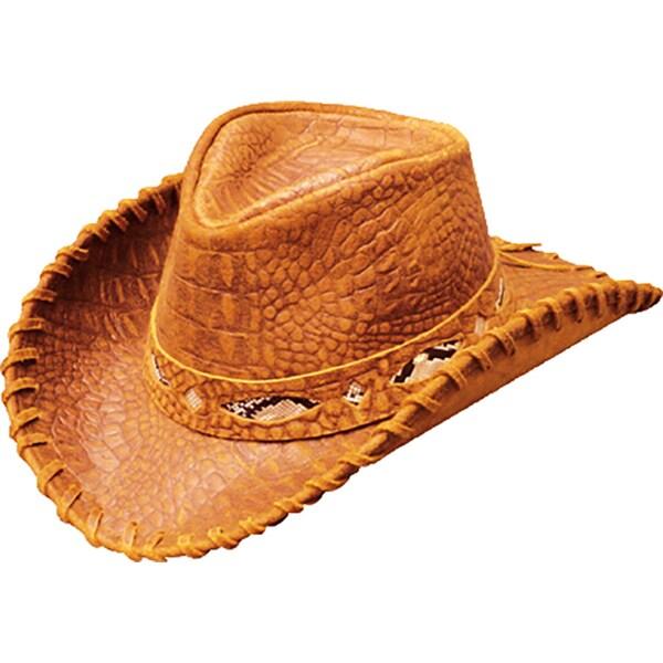 Shop Henschel Australian Crocodile Print Leather Wide Brim Hat ... 00e14a3ddfd2