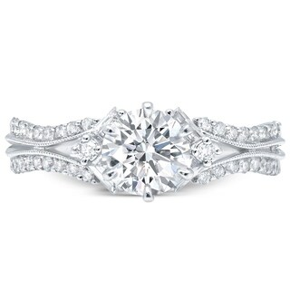 LeZari & Co. 1.05ct TDW Modern Round and Baguette cut U-pave Diamond Engagement Ring, Split Shank Beaded Edges 18K White Gold