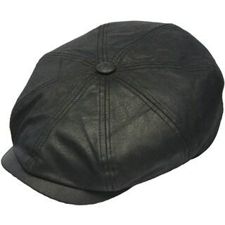 Henschel Leather Cotton Plaid Lined Newsboy Cap