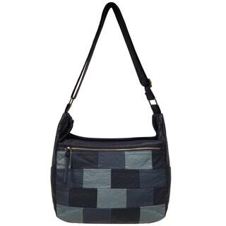 Bueno of California Denim Washed Faux Leather Crossbody Handbag